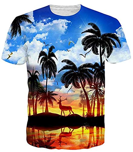 (Sykooria Unisex Funny Hawaii T Shirts Summer 3D Printed Graphic Funny Mens Tee)
