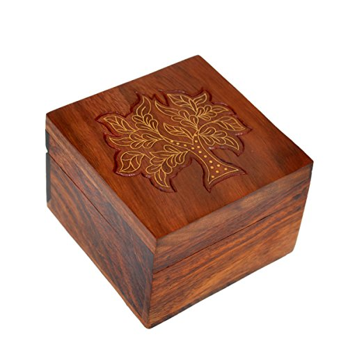 Hashcart Indian Artisan, Handmade  Handcrafted Wooden Jewelry Box/Jewelry Storage Organizer/Trinket Jewelry Box with Traditional Design and Brass Inl…