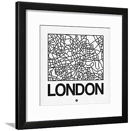 Amazon.com: ArtEdge White Map of London Black Wall Art Framed Print ...