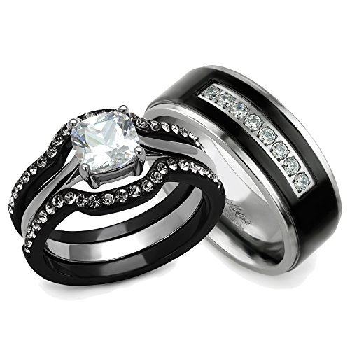 His and Hers Wedding Ring Sets Couples Matching Rings ...