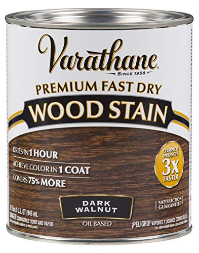Fast Drying Wood - Varathane 262006 Premium Fast Dry Wood Stain, 32 oz, Dark Walnut