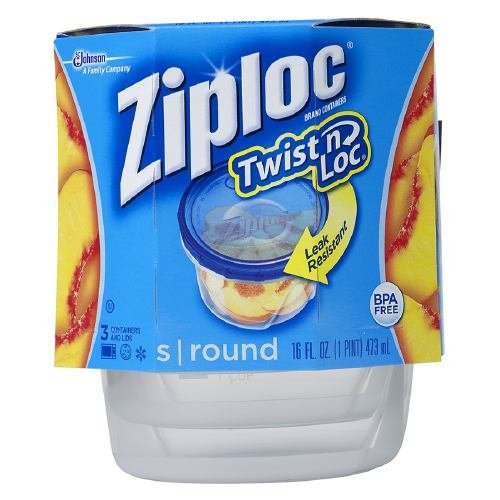 Ziploc Twist 'n Loc Containers Small 2 Cup 3 ea