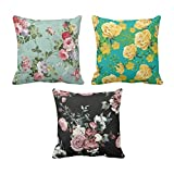 YaYa cafe Printed Rose Floral Flower throw cushions pillow covers 16x16 inches for Home decor Sofa Chair bedroom living Room - Set of 3