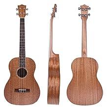 Kmise Mahogany Baritone Ukulele Hawaii Guitar 30 inch Abalone Soundhole Rosette Matt