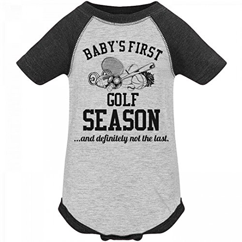 FUNNYSHIRTS.ORG Baby's First Golf Season: Infant Vintage Raglan Bodysuit