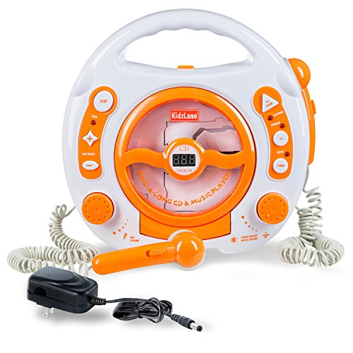 Kids-Portable-Sing-Along-CD-MP3-USB-Player-with-2-Microphones-Anti-skip-Protection-Orange