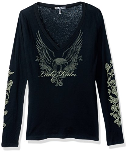 Hot Leathers Lady Rider Upwing Eagle Long Sleeve Ladies Tee (Black, X-Large)