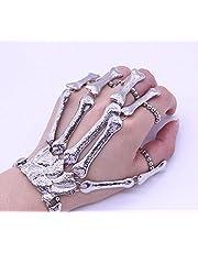 Punk Steampunk Black Skull Finger Hand Bond Bracelet Goth Skeleton Bones Bangle
