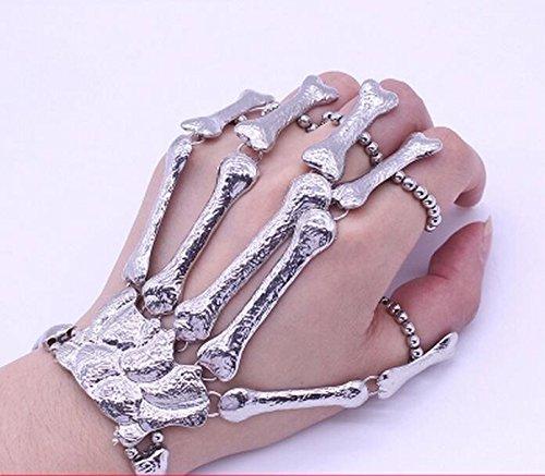 Punk Steampunk Black Skull Finger Hand Bond Bracelet Goth Skeleton Bones Bangle ()