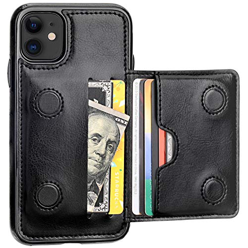 iPhone 11 Wallet Case Credit Card Holder, KIHUWEY Premium Leather Kickstand Durable Shockproof Protective Cover iPhone 11 6.1 Inch(Black) (Best Black Credit Cards 2019)
