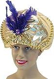 Sultan Genie Arabian Prince Gold Padded Fancy Dress Party Hat Beads + Jewels