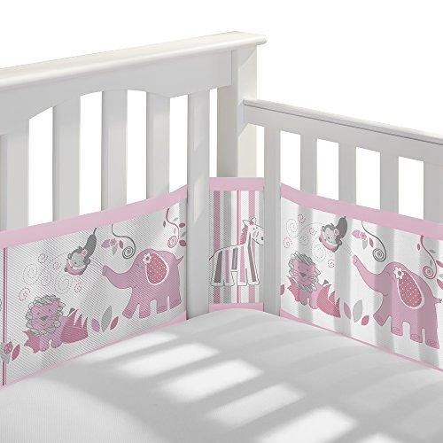 (BreathableBaby Classic Breathable Mesh Crib Liner - Safari Fun Girl)