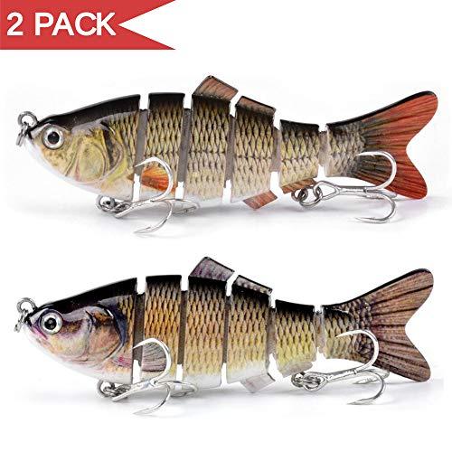 YIQI 2 Pack Fishing Lures for Bass Multi Jointed Lifelike Swimbaits Hard Crankbaits Slow Sinking Fishing Tackle Kits
