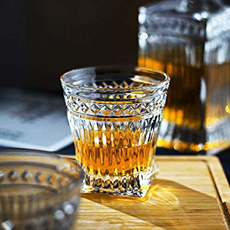 GJX Juego de Jarras y Vasos de Whisky Whisky la Jarra, de Primera Calidad 1 Iceberg Whisky Decanter (29 oz) con 4 Iceberg Whisky Glasses (10 oz) for Liquor Scotch Bourbon Vodka Brandy o Vino
