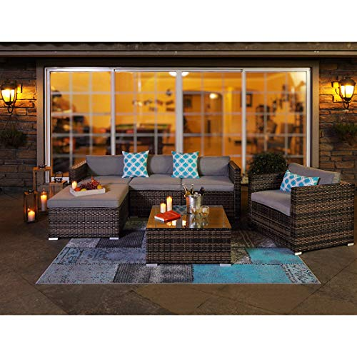 COSIEST 6-Piece Outdoor Furniture All-Weather Mottlewood Brown Wicker Sectional Sofa w Warm Gray Thick Cushions, Glass-Top Coffee Table, 3 Teal Pattern Pillows Incl. Waterproof Cover, - 6 Piece Sofa