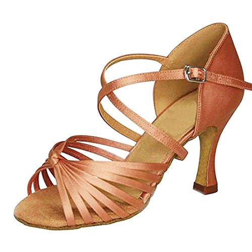Pour Chaussures Samba vas Rumba Modernes Confortable Ouvert Mgm De joymod Brun Talon Latin 7 Satin 5cm Jazz Femmes Noeud Salsa Danse Bout Tango ZaqwwgI6n