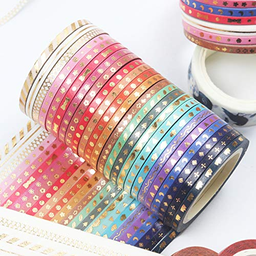 Yubbaex Skinny Washi Tape Set Gold Foil Print Decorative Tapes for Arts, DIY Crafts, Bullet Journals, Planners, Scrapbooking, Wrapping (VSCO 24 Rolls)