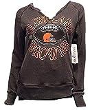 VF Teens Juniors Split Neck Distressed Cleveland Browns Fleece Lined Sweatshirt Size XS