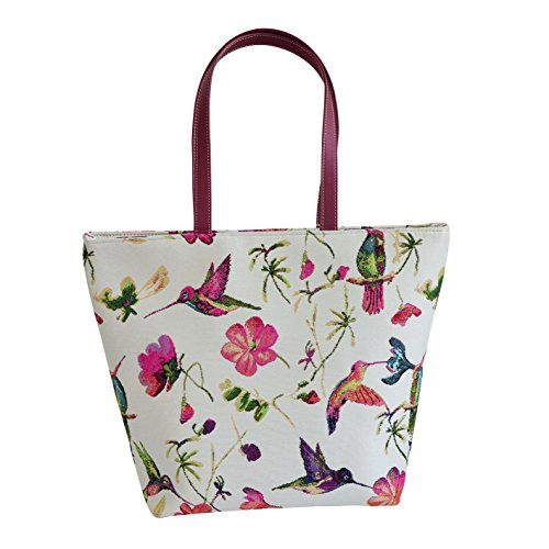 - Signare Red & White Women's Fashion Tapestry Shoulder Tote Handbag, Travel Handbags for Shopper, Daily Purse Tote Bag with Hummingbird and Flower (SHOU-HUMM)