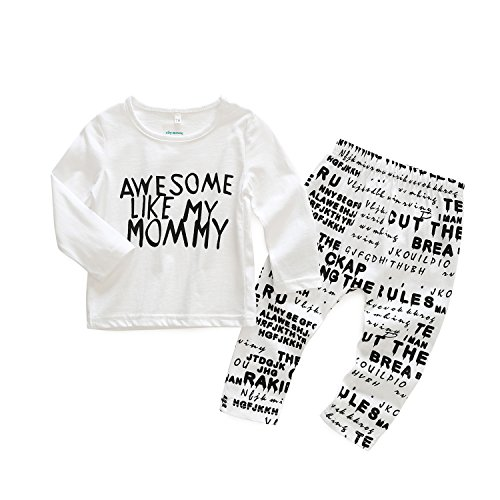 2pcs Baby Boy T-shirt Tops+Pants Casual Outfits (White+Black) - 8