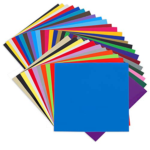 Angel Crafts Adhesive Vinyl Sheets: Permanent Vinyl for Cricut, Silhouette Cameo, Oracal Cutters - 35 Colors, Indoor Outdoor Craft Vinyl Adhesive, Non-Stretchy Vynal, Made in USA - 12 inch by 12 inch