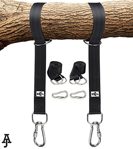 Tree Swing Hanging Kit Holds 2000lbs|10ft Extra Long Straps| Easy & Fast Swing Hanger Installation to Tree| 2 Strap & Carabiner Hooks| Perfect For Swings, Hammocks & Anything Else You Can Imagine|