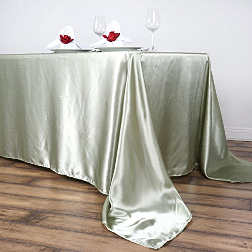 "Efavormart 90x156"" Rectangle RESEDA Wholesale SATIN Tablecloth Banquet Linen Wedding Party Restaurant Tablecloth"