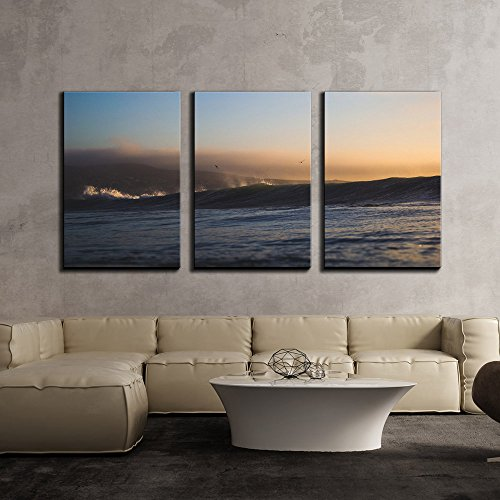Seashore with Huge Waves on the Sea x3 Panels