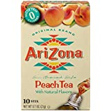 AriZona Peach Iced Tea Iced Tea Stix Sugar Free, 10 Count Per Box (Pack of 6), Low Calorie Single Serving Drink Powder Packets, Just Add Water for a Deliciously Refreshing Iced Tea Beverage