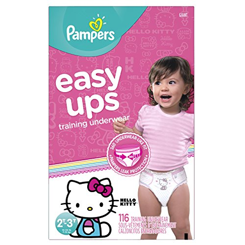 Pampers Easy Ups Training Pants Pull On Disposable Diapers for Girls Size 4 (2T-3T), 116 Count, GIANT