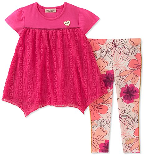 Girls Couture Juicy Heart - Juicy Couture Girls' Little 2 Pieces Tunic Set, Fuchsia/Print, 6