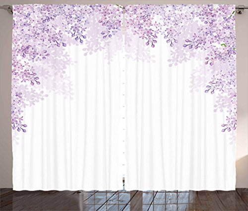 Ambesonne Flower Curtains, Framing Lilac Flowers in Blossom Vernal Season Soothing Color Shades, Living Room Bedroom Window Drapes 2 Panel Set, 108 W X 63 L Inches, Lavender White (Curtains White Lilac And)