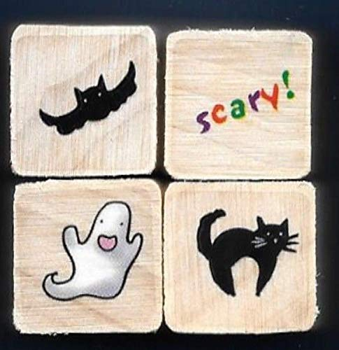 Rubber Stamp Frames BAT Scary! Ghost CAT Word Mini LOT Halloween Gift tag Wood Mount Rubber Stamps ()