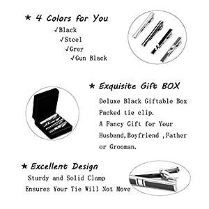 LOLIAS 4 Pcs Mens Tie Clip Set Skinny Tie Clip Silver-tone Balck Gray Tie Bar Clip with Gift Case Tie Clip