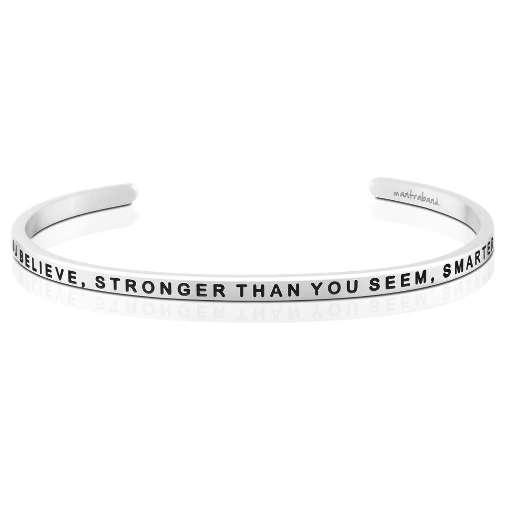 MantraBand Bracelet - Braver, Stronger, Smarter - Inspirational Engraved Adjustable Mantra Band Cuff Bracelet - Silver - Gifts for Women (Grey) by MantraBand