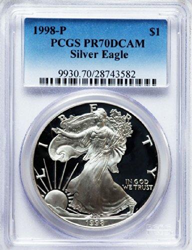 1998 P American Silver Eagle Dollar DCAM PCGS PR70