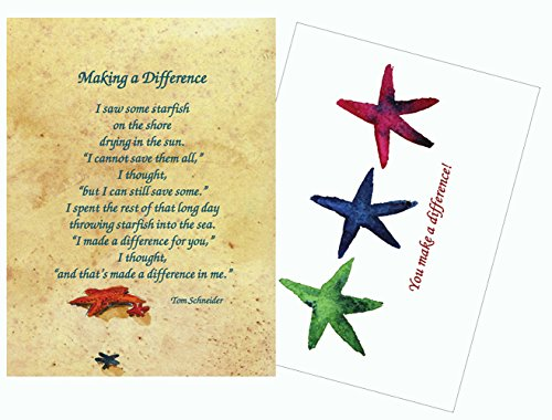 Starfish Story Poem Making a Difference Inspirational/Prayer Greeting Cards - 25 Laminated (Starfish Story Gifts)