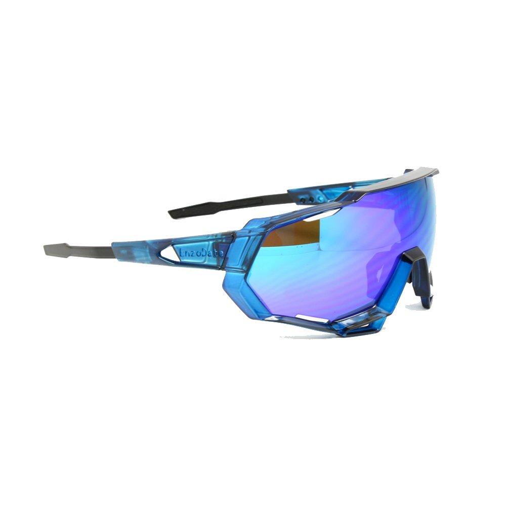 EnzoDate Radfahren Sonnenbrille UV400 polarisierten 3/4 Lens Kit Downhill Race Motorrad Rennen Brille Wear mit Helm Outdoor Sports (schwarz, 5 Objektiv (1 Übergang + 1 Polarisiert))