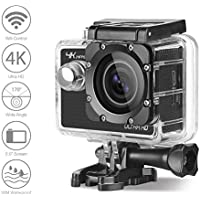 4K Action Camera WOQI 1080P 60fps Ultra HD Waterproof Sports Camera DV Camcorder 2.0 inch Video Camera Car Helmet Camcorder with 170 Degree Wide Angle 2pcs Batteries and Accessories (Black)