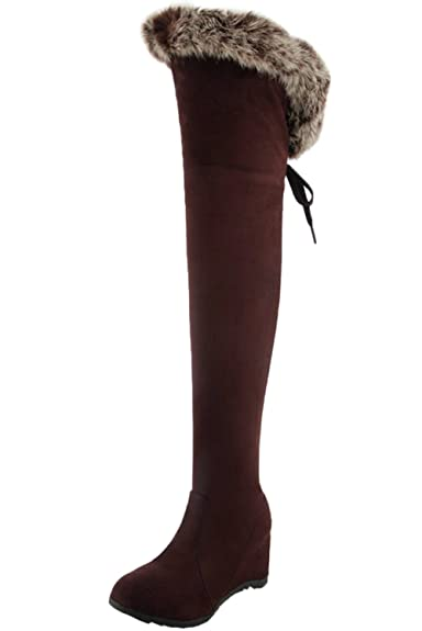 BIGTREE Overknee Stiefel Damen Herbst Winter Blockabsatz Casual Kunstleder Reißverschluss Bequem über Knie Stiefel von Schwarz 36 EU 96mbe