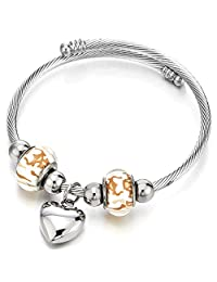 Heart and Murano Glass Charms Cuff Bracelet, Elastic Adjustable Stainless Steel Twisted Cable Bangle