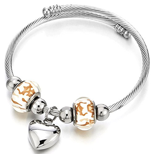 (COOLSTEELANDBEYOND Heart and Murano Glass Charms Cuff Bracelet, Elastic Adjustable Stainless Steel Twisted Cable Bangle)