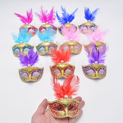 Yiseng Small Masquerade Masks Party Decoration 12pcs Set Luxury Feather Mini Masks Mardi Gras Halloween Decor Novlety Gifts (Mix 6 Color)