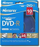Memorex DVD Recordable Media - DVD-R - 4.70 GB - 10 Pack Spindle 03133