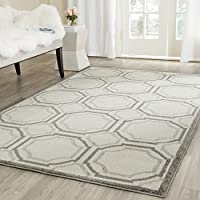 Safavieh Amherst Collection AMT411E Ivory and Light Grey Indoor/ Outdoor Square Area Rug (7 Square)