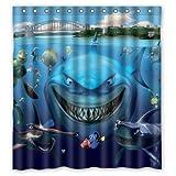 Clown Fish Shower Curtain Anzona Waterproof Custom Fabric White Shark Underwater Nemo Clown Fish Bathroom Shower Curtain 60x 72IN For Bathroom