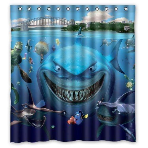 Anzona Waterproof Custom Fabric White Shark Underwater Nemo Clown Fish Bathroom Shower Curtain 60x 72IN For Bathroom