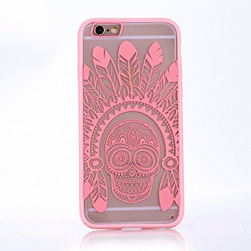 König-Shop Handy Hülle Mandala für Apple iPhone 7 Plus Design Case Schutzhülle Motiv Federn Totenkopf Cover Silikon Tasche Bumper Rosa