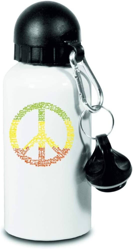 Drucklebnis24 – Botella – Peace 1970 con símbolo de Jamaike – para niños, escuela, deporte, fitness – Botella de agua fina de aluminio