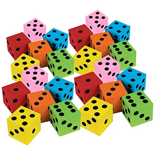 Kicko Foam Dice Assortment - Assorted Colors - 24 Pack Traditional Style Learning Resources for Math Teaching – Great Toy, Game, Prize for Kids